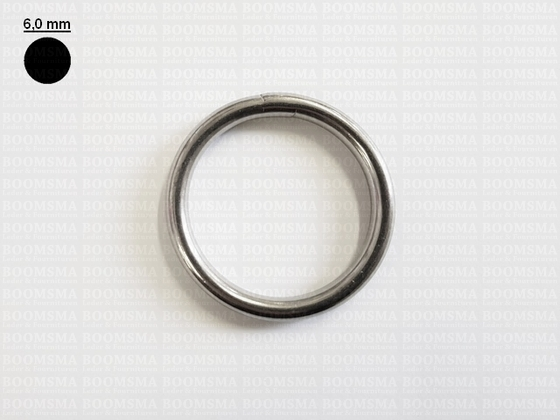 Ring rond RVS ofwel O-ring zilver 40 mm × Ø 6 mm  - afb. 1